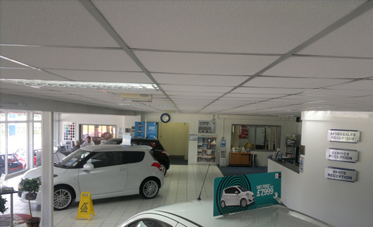 Suzuki car dealership - Builth Wells , Mid Wales - Insulation, asbestos encapsulation & stabilisation